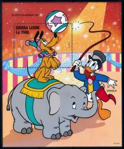 [76927] Sierra Leone 1996 Disney Circus Elephant Pluto Donald Duck Sheet MNH