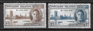 Pitcairn Island 9-10 1945 WWII Peace set NH