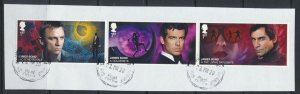 GB   James Bond strip of 3 1st Class Used / Very Fine on piece 2020 issue  se...