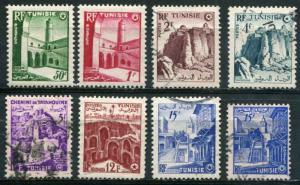 Tunesia SC# 236-40, 243-4, 52 Historic Buildings MH & Used SCV $3.30