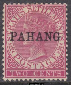 1890 Malaya Pahang 2c Bright Rose, overprint PAHANG type 4, SG 6, MH