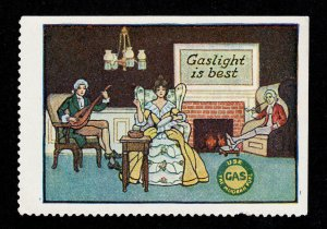 POSTER STAMP 'GASLIGHT IS BEST' MINT WITH GUM (PAPER ADHESION)