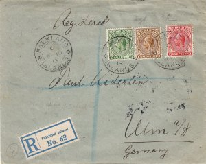 Falkland Islands 1913 KGV Three Colour Franking Cover to Ulm, Germany