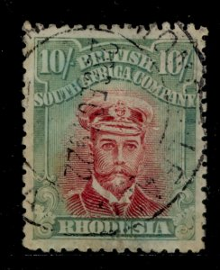 RHODESIA GV SG277, 10s carmine-lake and yellow-green, USED. Cat £275.