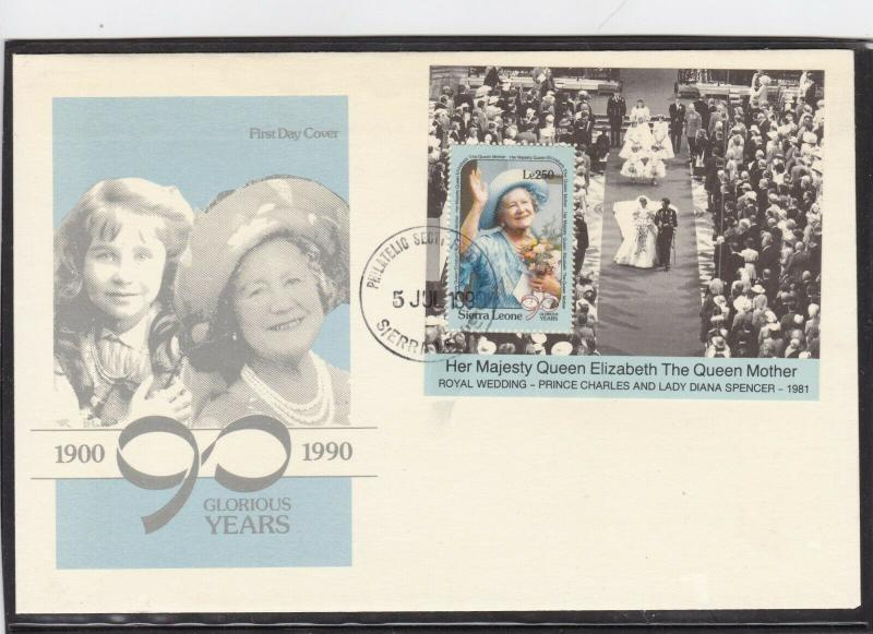 Sierra Leone 1990 Queen Mother 90th Birthday FDC Unadressed VGC