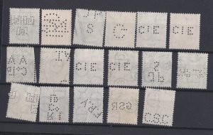 Ireland Perfin Stamps, Lot of 17