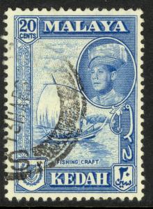 MALAYA KEDAH 1959-62 20c Fishing Boat Pictorial Issue Scott 101 VFU