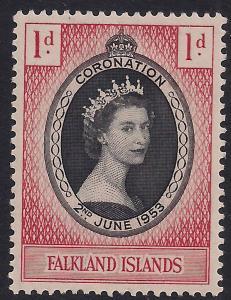Falkland Islands 1953 QE2 1d Coronation MM SG 186 ( R1166 )