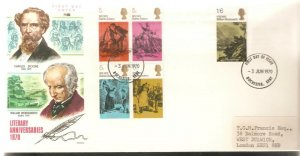 1970 LITERACY ANNIVERSARIES PHILART FDC WITH ROCHESTER CANCEL - CHARLES DICKENS