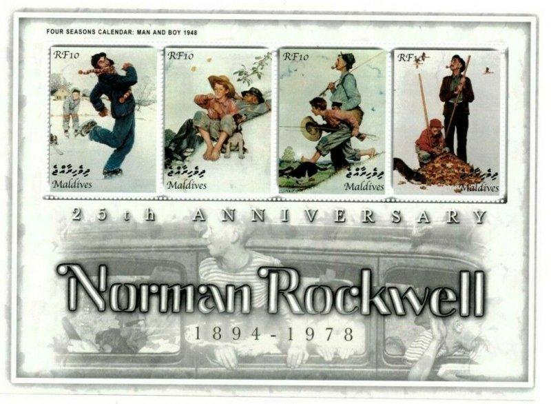 Maldives MNH S/S Norman Rockwell Four Seasons Man & Boy 4 Stamps