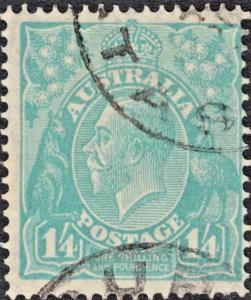 Australia 1932 KGV 1/4d Turquoise FU