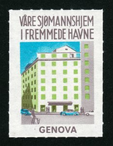 REKLAMEMARKE POSTER STAMP VÅRE SJØMANNSHJEM I FREMMEDE HAVNER 1967 GENOVA HOME