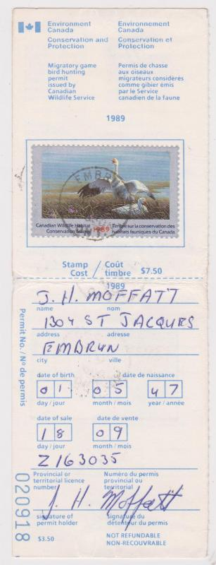 Canada - 1989 $7.50 Snow Geese Used on License USC#FWH5