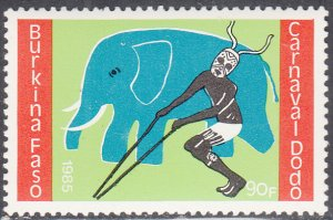Burkina Faso 1986 MNH Sc #760 90fr Elephant, dancer Dodo Carnival