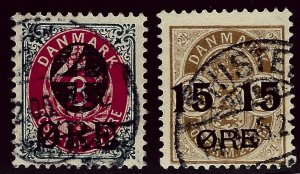 Denmark SC#55 & 56 Used F-VF SCV$21.50...Beautiful Denmark!