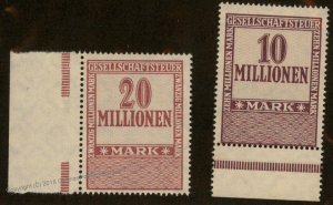 Germany Weimar Inflation Business Tax Revenue Stamps MNG 96237