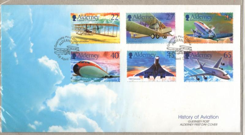 Alderney Sc 203-8 2003 Powered Flight stamp set on First Day Cover