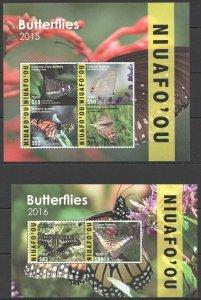 SK9 2015,2016 NIUAFO'OU TONGA SAMOA BUTTERFLIES !!! MICHEL 390 EURO KB+BL MNH