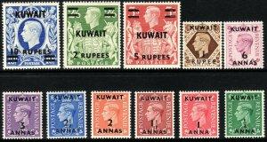 1948 - 1949 British Kuwait KGVI complete surcharge set MNH Sc# 72 / 81A $185.50