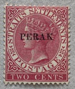 Malaya Perak 1886 2c bright rose Crown CA. Unused. Scott 8, CV $30.00, SG 22