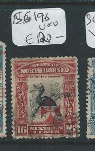NORTH BORNEO (P2307B) RED CROSS 16C BIRD  SG198   VFU