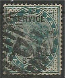 PATIALA, 1885, used 1/2a, Overprint, Scott O5