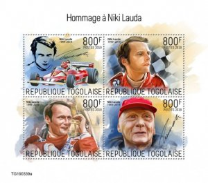 TOGO - 2019 - Tribute to Niki Lauda - Perf 4v Sheet - MNH
