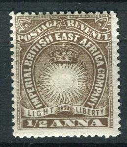 BRITISH EAST AFRICA; 1890 classic Company issue fine Mint hinged 1/2a. value