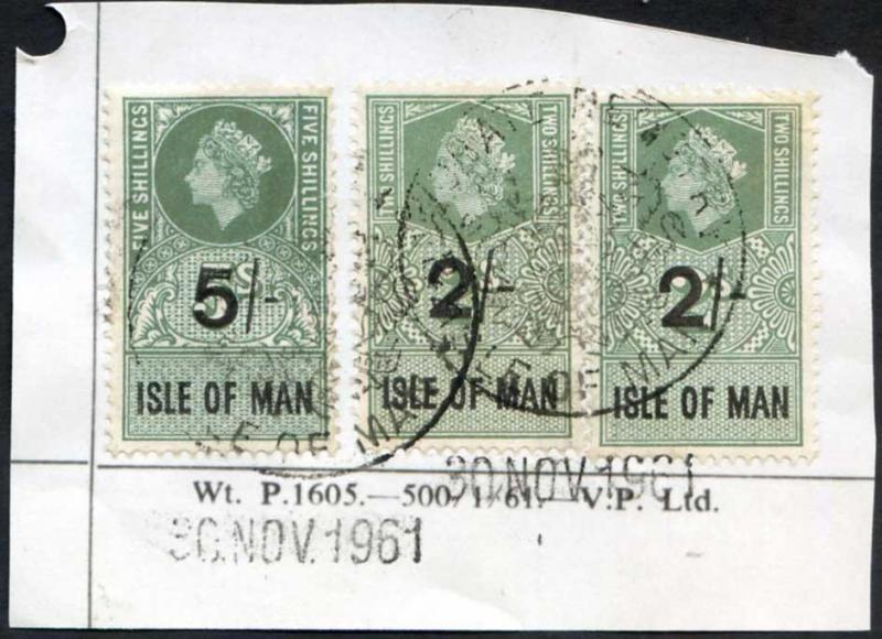 Isle of Man QEII 5/- and 2 x 2/- Key Plate Type Revenues CDS on Piece