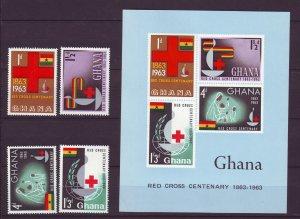 Z742 JLstamps 1963 ghana mnh set + s/s #139-42a red cross
