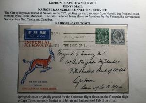 1932 Nairobi Kenya KUT First Flight Cover FFC To Cape Town South Africa