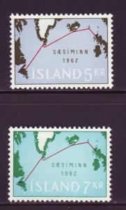 Iceland Sc 350-1 1962 Submarine Cable stamp set mint NH