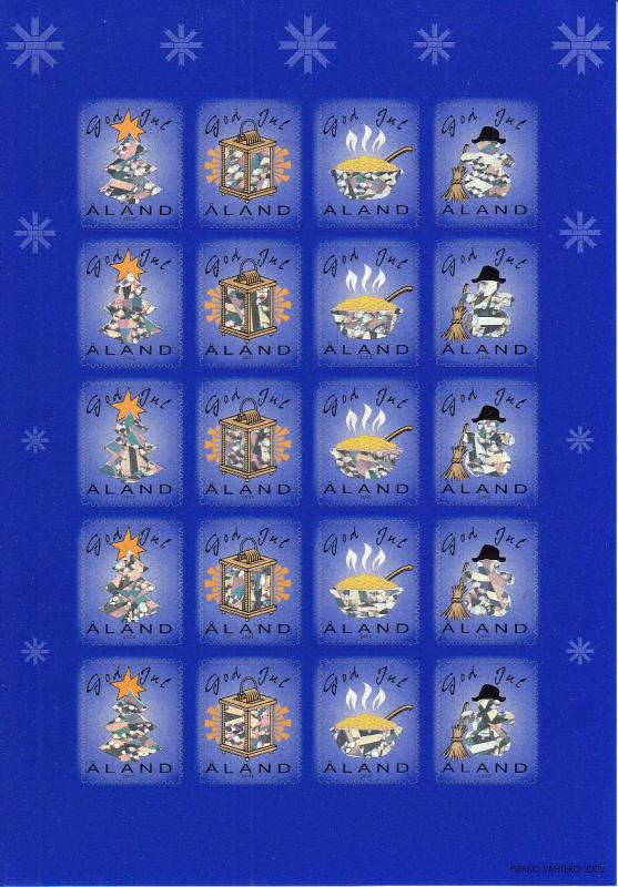 Aland 2002 MNH Sheet of 20 Christmas Seals Holograms 4 different