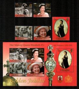 Gibraltar 2002  # 896- 900a Mint NH S/S & set , Golden Jubilee
