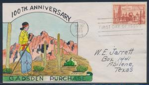 #1028-31 GADSDEN PURCHASE ON FDC HAND PAINTED WRIGHT CACHET BT858