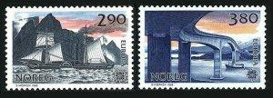 Norway 928-9,MNH.Michel 996-997. EUROPE CEPT-1988.Transport:Steamer,Bridge.
