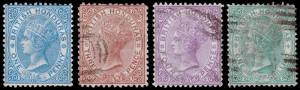 British Honduras Scott 8-10, 12 (1877-79) Used/Mint H F-VF, CV $144.50 M