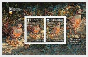2019    GIBRALTAR  -  BIRDS - EUROPA -  UNMOUNTED MINT  - MINI SHEET - PARTRIDGE