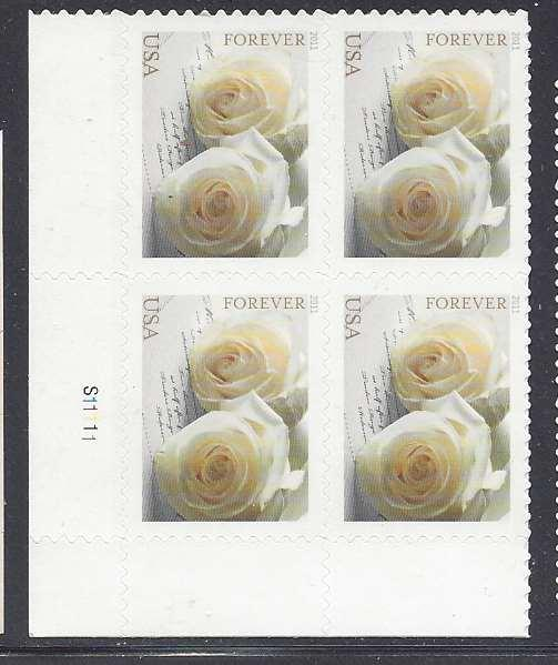 Catalog 4520 Wedding Roses Plate Block Of 4 44cent Forever Stamps