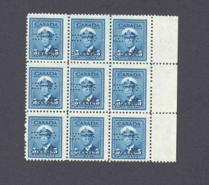 CANADA O255 BLOCK 9 OG NH VF PRISTINE GUM 5-HOLE PERFIN OFFICIAL