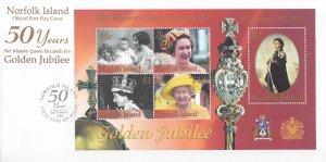 Norfolk Island 2002 FDC Sc #762 Souvenir sheet 50th Anniversary Reign of Quee...