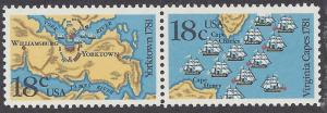 1937 38 Block of 2 18cent Battle of Yorktown and Virginia Capes Bicentennial