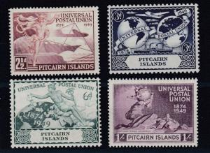 PITCAIRN ISLANDS  1949  UNIVERSAL POSTAL UNION SET OF FOUR  M H