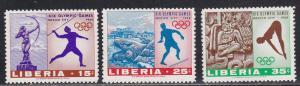 Liberia # 483-485, Mexico City, Olympics, Mint Hinged