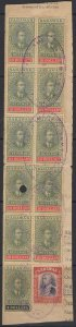 SARAWAK Bft38 & 40x10 1918 $4 & $10(x10) REVENUE STAMPS USED ON PIECE