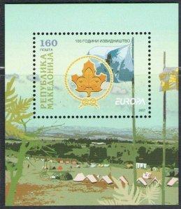2007 Europa Cept  Macedonia Sheet of Stamps - Souvenir Sheet,100 Years Di