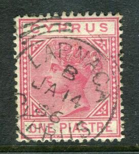 CYPRUS; 1880s early classic QV issue fine used 1pi. value, fair Postmark