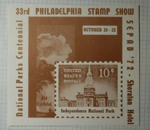 SEPAD Philadelphia Stamp Show Indepedence Natl Park 10c Philatelic Souvenir Ad