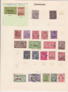 India States Travancore Stamps on Page - Super Lot  Ref 33186
