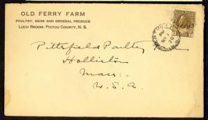 CANADA NOVA SCOTIA 1920 OLD FERRY FARM Corner Card Cover KGV 3c to USA
